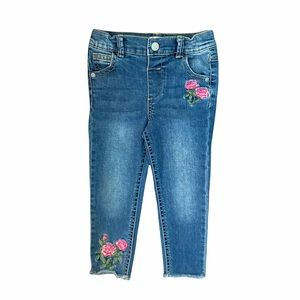 NEW 3T Girls Floral Raw Edge Blue Skinny Jeans